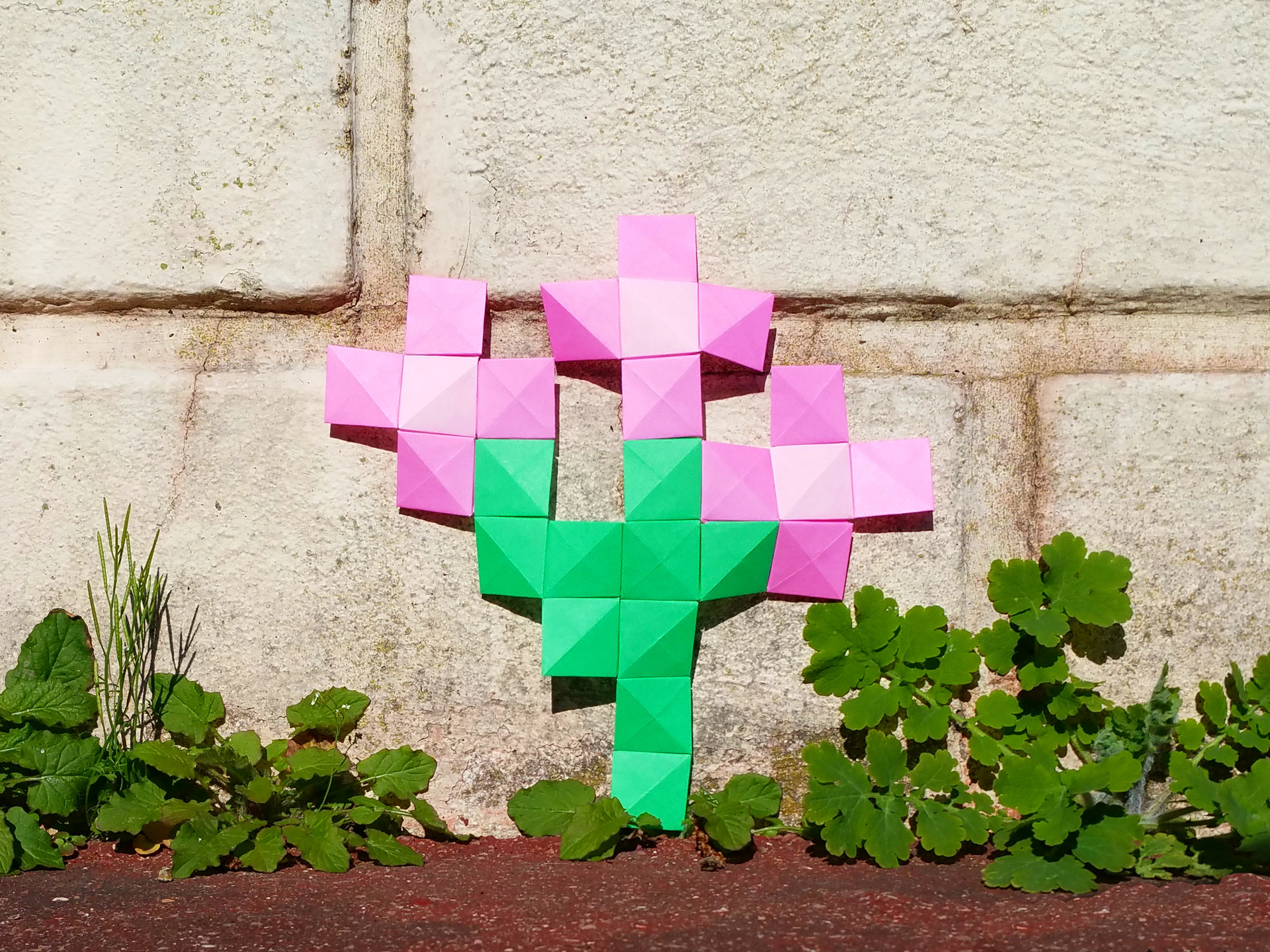 Low Tech Augmented Reality Origami Pixels Flowers